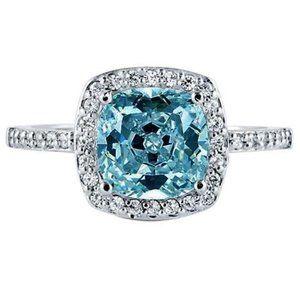 2.01 carats Blue cushion halo center diamond ring
